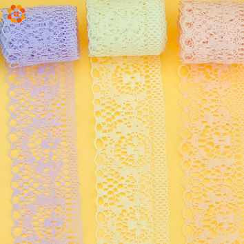 10Yard Lot New Selling 6 Colors High Quality Lace Ribbon Width 35MM DIY Embroidered Net Lace Trim Fabric For Sewing Decoration
