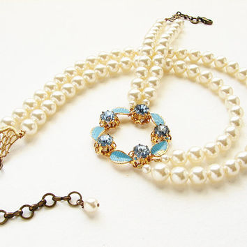 Wedding jewelry, Bridal necklace, wedding statement necklace, vintage Tiffany Blue brooch Pearl Necklace