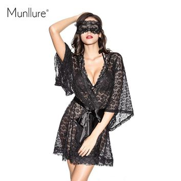 Black transparent lace lacing sleepwear nightgown romantic sexy butterfly sleeve luxury
