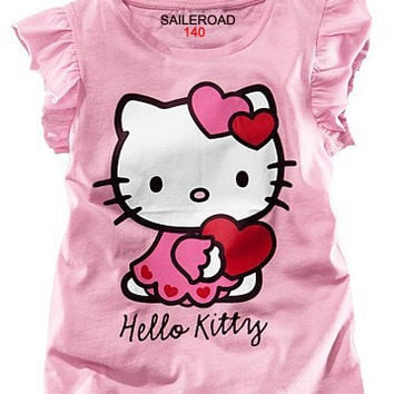 SAILEROAD summer children 2017 new hello kitty baby girls t shirts kids tops tees girls dot cartoon cotton princess t-shirt