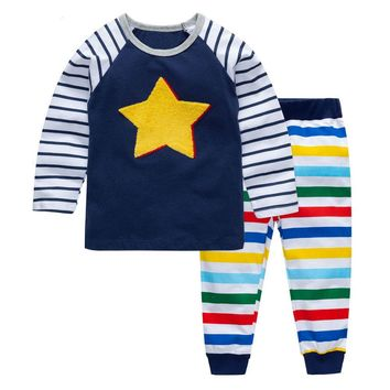 Littlemandy Star Boys Clothing Set Children Sports Suits Kids Fashion Autumn Baby Clothes Animal Applique Tops Pants Outfits