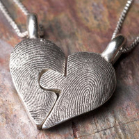 Custom Fingerprint Puzzle Necklace Piece in Sterling Silver Personalized