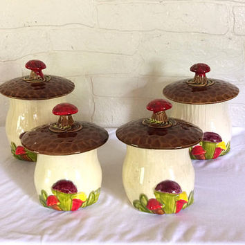 Vintage Mushroom Canister Set Mushroom Kitchen Merry Mushroom Decor Retro Kitchen Retro Canister Set Kitsch Kitschy  70s Decor 1970s Decor