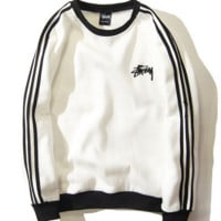 Round Neck Stussy Embroidered Stripe Long Sleeve Pullover Sweater