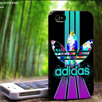 Adidas Stripes Colorful Flush Design For iPhone 5 / 4 / 4S - Samsung Galaxy S3 / S4 ( Black / White case )