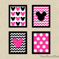 Set of 4 Mickey Mouse Black, White & Pink Chevron Printable Wall Art