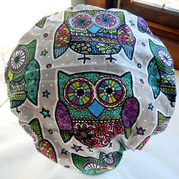 Shower Cap Rockabilly Bath and Beauty Hat - Retro Day of the Dead Owls - Día de los Muertos