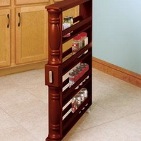 Slim Rolling Slide Out Kitchen Storage Cabinet Can and Spice Rack Organizer