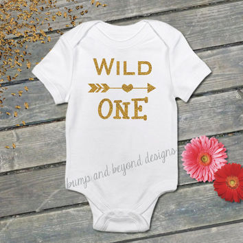 Wild One First Birthday Bodysuit Shirt One Year Old Birthday Gold Wild One Birthday Shirt Photo Prop 023