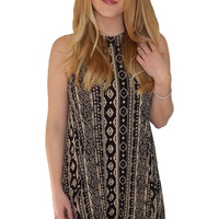 Martini Shift Dress- Black and Cream