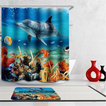 ICIK272 Boutique High Quality Modern Waterproof shower 3D Underwater world Shower Curtain Bathroom Curtain fish curtains for bath room