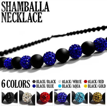 Hight Quality,Religious Rosary Necklaces,Charm Black Frosted Agate & Rhinestone Crystal Shamballa Beads Necklace,Free Shipping