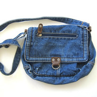 vintage jean purse. denim purse. crossbody purse. denim shoulder bag.