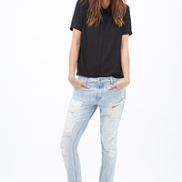 FOREVER 21 Low-Rise - Distressed Boyfriend Jeans Light Denim