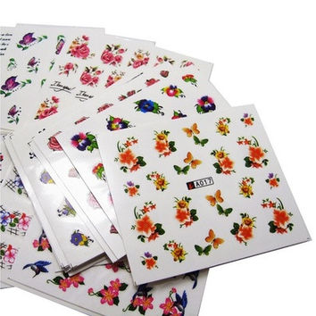 50Sheets/Lot PROMOTION Mix Styles Flower Water Transfer Nail Art Stickers Decals [8833570124]