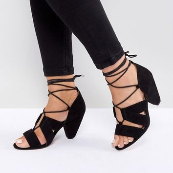 ASOS TALI Wide Fit Lace Up Heeled Sandals at asos.com
