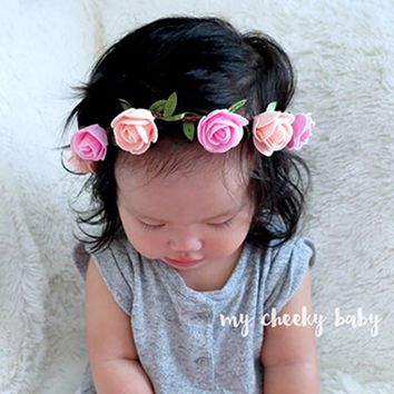 Rose Headband Kids Hairband Bohemian Flower Crown Tiara Floral Headwear Adjustable Bandeau Newborn Hair Accessories 1 PC