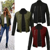 Women's Black Sleeve Bomber Jacket