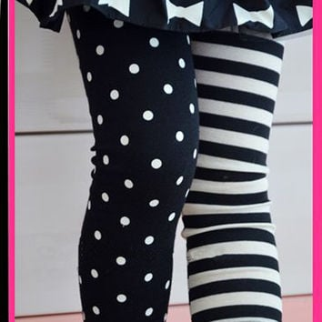 Kids Girls Dance Leggings Polka Dot Stripe Trousers Render Pants 1-9Y