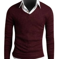 jeansian Men's Slim Fit Long Sleeves Casual Shirts Pullover Sweater 8806