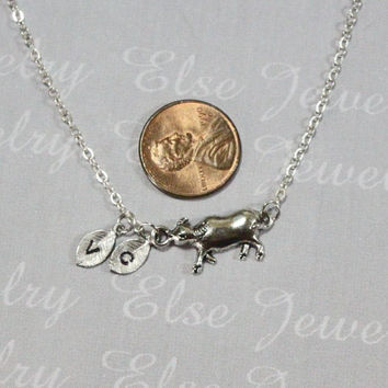 Initial Cow Necklace - SterlingSilver Chain. Cattle Animal Jewelry Etsy ,Calf Pendant Necklace,Personalized Silver Cow,Farm Girl Gift.