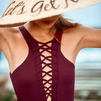 Merlot Caged One Piece