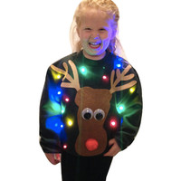 Kid's Light Up UGLY CHRISTMAS SWEATER - Rudolph!!! (Also available in Hoodie!)   _____**Fast Shipping**_____