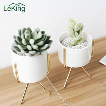 Ceramic Whiteware Flowerpot Hydroponic With Artistic Iron Shelf Succulent Planter Indoor Desktop Home Garden Decoration