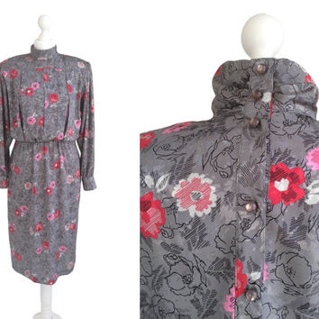 1980's Dress - 80's Vintage Dress - Grey Dress - Red Pink Flowers - Silky Floral Dress -  Andrea Gayle