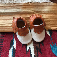 12 to 18 mo. white / brown leather baby moccasin,  baby moccasin, genuine leather baby moccasin suede leather moccasins, infant moccasin