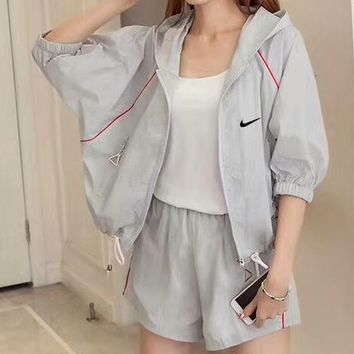 NIKE Counter Summer New Women Fashion Set F-CY-MN Grey