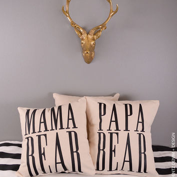 Mama Bear - Natural Canvas Cotton Pillow Cover - Home Goods House ware - Decorative Pillow Cover
