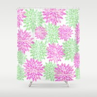 pink and green flowers Shower Curtain by Sylvia Cook Photography