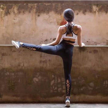 Yoga Pants with Cutout Tie Cuff