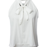 White V-neck Bowknot Front Double Layer Chiffon Top