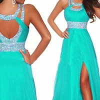Mic Dresses Long Formals Chiffon Bridesmaid Prom Dresses for Women (US 8, Turquoise)