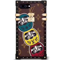 LV Louis Vuitton cartoon face iPhone6S/7/8plus creative personality metal shell F-OF-SJK