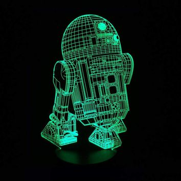 New Action Figure 7colors Robot R2D2 3D Visual LED Night Lights for Kids Friends Star War Fans as Bedroom Table Desk Lamp Sale