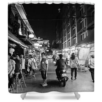 Bangkok Thailand Street Scene Black and White Asian Inspired Polyester Fabric Shower Curtain
