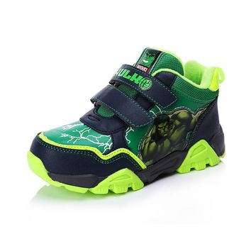 Disney Children's The Hulk Iron Man Cartoon Pattern Shoes Sneakers Captain America Spider-Man Boys Fashion Shoes Size28-33DS0909