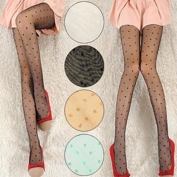 TD 2016 Hot Sexy Hosiery Sheer Pantyhose Stockings Sexy Lace Pantyhose Sweet Women Girls Polka Dot Pattern Tights Free Shipping