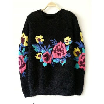 Women's Fashion Vintage Round-neck Long Sleeve Sea Pullover Sweater [8216431297]