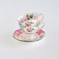 ROYAL ALBERT Tea for Two Bone China Cups and Saucers ENGLAND