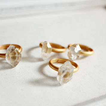 raw Herkimer Diamond Ring-antique brass  adjustable ring-raw crystal point ring -raw stone ring -unique ring