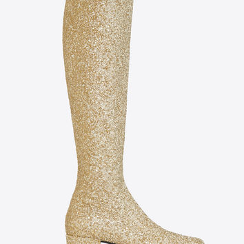 Saint Laurent Babies 40 Central Cut Boot In Gold Metallic Glitter Fabric | ysl.com