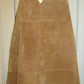 Vintage Suede Skirt by Jou Jou Natural Brown Patch Pattern A-Line Skirt Boho Chic