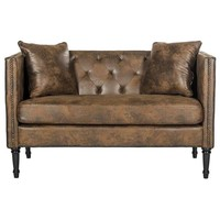 Sarah Tufted Settee With Pillows Vintage Brown