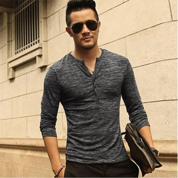 New Men Henley Shirt 2016 new Tee Tops Long Sleeve Stylish Slim Fit T-shirt Button placket Casual men Outwears Popular Design
