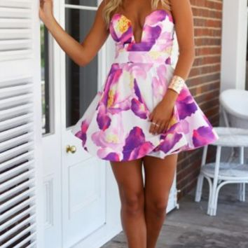 Deep V Neck Strapless Padded A-line Casual Mini Dress