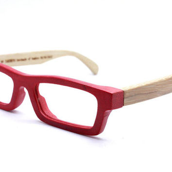 handmade bamboo LOVE-BAMBOO Takemoto red glasses with wood box